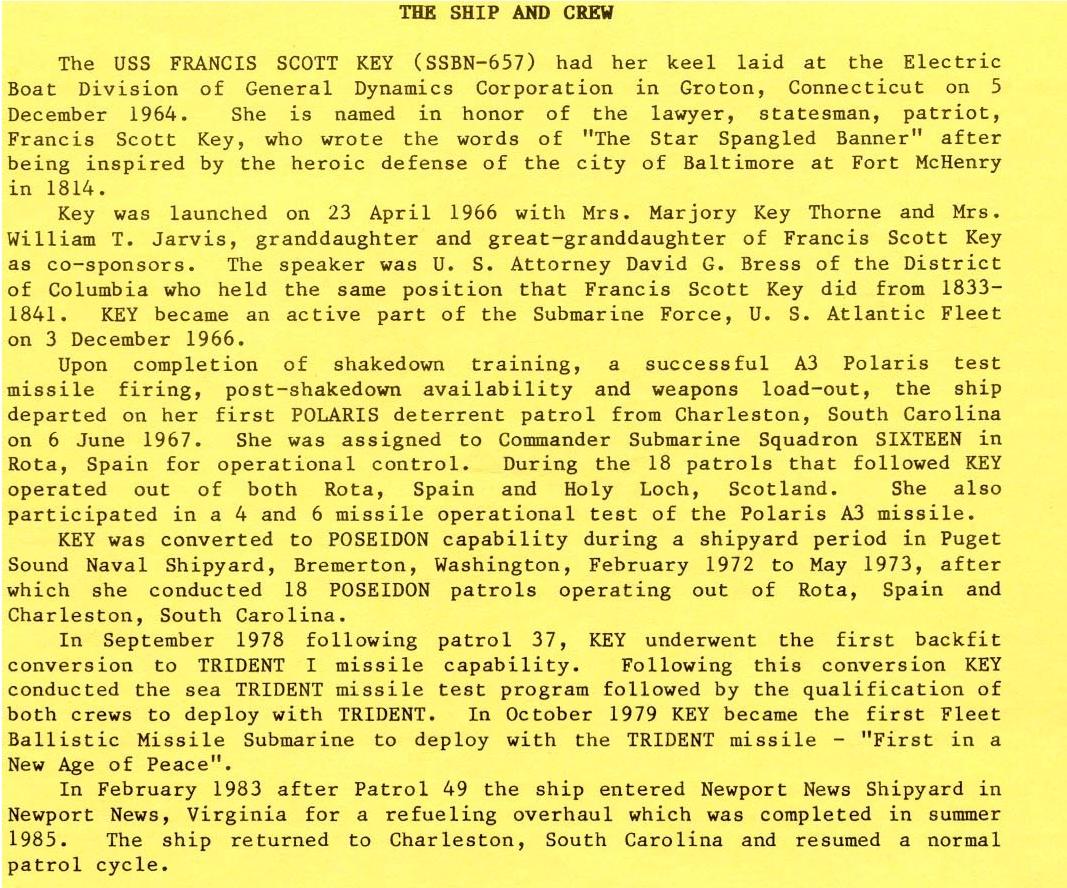 USS Francis Scott Key History